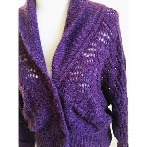 Free People purple loose knit oversized sweater